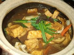 Cooking in clay pot makes the food tastier. Different types of food can be cooked in clay pot. You can add meat, chicken, vegetables, mushro. Claypot Recipes, Tofu Recipes, Seafood Recipes, Asian Recipes, Chicken Recipes, Vegetarian Recipes, Cooking Recipes, Healthy Recipes, Chinese Recipes
