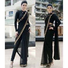 Style Array Present Bollywood Designer Black Color Georget with Designer Blouse Saree. Buy This Attractive Look Bollywood Designer Black Color Georget with Designer Blouse Saree Indian Wedding Outfits, Indian Outfits, Indian Fashion Dresses, Fashion Outfits, Girl Fashion, Indowestern Saree, Sari Bluse, Saree Draping Styles, Party Kleidung