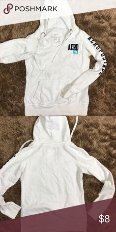 Excellent Hoodie!! Excellent Hoodie barely worn if ever. White with navy blue logo. Smoke Free Pet Free Home. Bundle to save more! Aeropostale Tops Sweatshirts & Hoodies