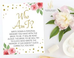 Get the party started with fun 'Who am I' game! This game is the perfect ice breaker for any bridal shower or bachelorette party. #printable #bridalshower #bridalshowergames #bridalgames #bridalshowerstationery #bridalstationery #bachelorette #bachelorettegames #bachelorettepartygames #SHdesigns