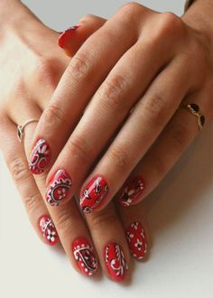 Handkerchief inspired nail art