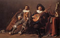 The Duet - c. 1635  Oil on panel, 34 x 53 cm  Akademie der Bildenden Künste, Vienna ---    Cornelis SAFTLEVEN (b. 1607, Gorinchem, d. 1681, Rotterdam)