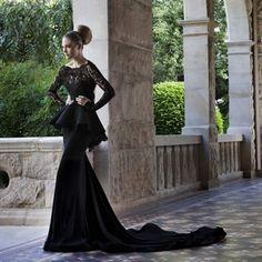 black chiffon lace open back mermaid long sleeve dress Long Sleeve Evening  Gowns 7ac58af838c5