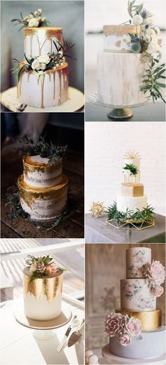 metallic wedding cakes #wedding #weddingideas