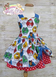 Girls red and blue Paw Patrol birthday pageant dress