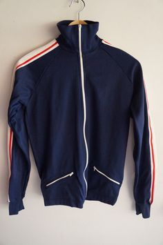 Vintage 70's Tracksuit Top -  Blue / White / Red - Small - FREE SHIPPING (Item T18) Track Jacket Unisex 80s