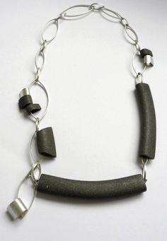Collaberative silver and ceramic neck piece by @Molly Simon Ginnelly and @LorraineRobsonCeramics 2012