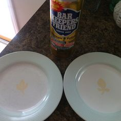 Bar Keepers Friend;  really does work for getting rid of scratches on your dishes!   And many other numerous items.