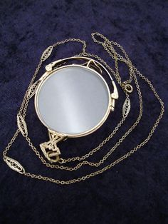 Antique 12K GOLD Filled PINCE NEZ Folding LORGNETTES Spectacles & ORNATE CHAIN!