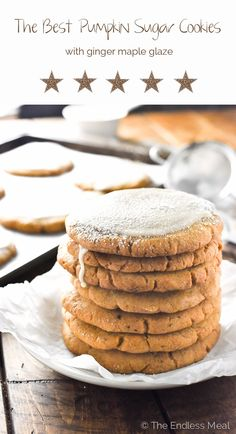 This is The Best Pumpkin Sugar Cookies recipe there is. Seriously. They're crispy on the outside and chewy inside, just the way a sugar cookie should be. After they're baked, they're coated in an easy to make ginger maple glaze that will rock your world. Plus, they're egg-free so super easy to make vegan. I know you will LOVE them! | theendlessmeal.com