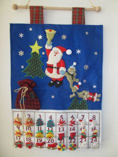 Christmas Advent Calendar Santa Teddy Bears Jeweled Countdown Pieces Hangar