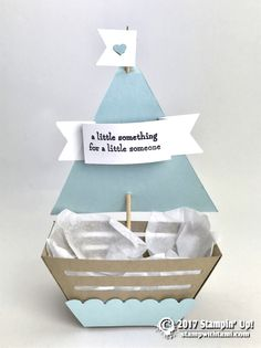 56 ideas baby cards to make stampin up Diy Gift Box, Diy Box, Baby Favors, Baby Shower Favors, Stampin Up, Deco Table, Baby Cards, Sailboat, Baby Gifts