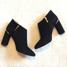 HOST PICK Kate Spade Heeled Booties So chic and trendy, a must have! Black suede, 3 1/2 inch heel, and a gold side zipper that's shaped like a bow. Brand new, never been worn, 100% authentic. Feel free to make a reasonable offer! kate spade Shoes Ankle Boots & Booties