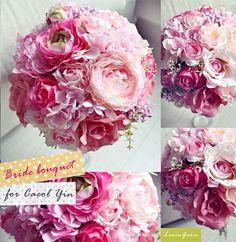 Hot pink hydrangeas and soft pink secondary flowers for this bride bouquet.  www.facebook.com/LemongrassWedding