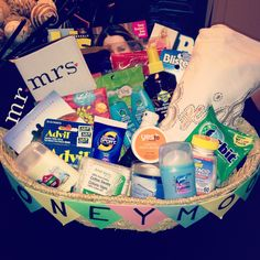 Honeymoon Basket for the Mr. & Mrs. !! #weddings #honeymoon #giftideas