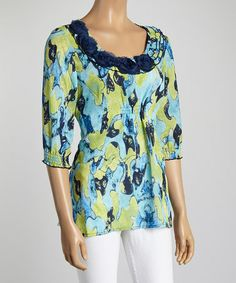 Another great find on #zulily! Aqua & Green Flower Abstract Scoop Neck Top #zulilyfinds