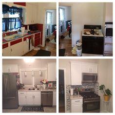 Kitchen makeover  White, gray, small kitchen makeover on a budget