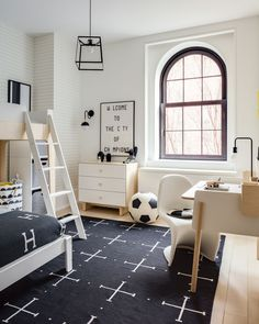 314bff273a9c24 Boys Room in black and white with different take on a sports themed room.  Via