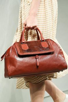 ** Bottega Veneta Burnt Orange Suede Bamboo Handle Duffle Bag - Spring 2015