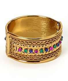 Another great find on #zulily! Gold Color Studded Hinged Bangle #zulilyfinds