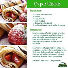 Crepas Delicious Desserts, Dessert Recipes, Yummy Food, Crêpe Recipe, Cooking Time, Cooking Recipes, Crepes And Waffles, Cheesecake, Tacos