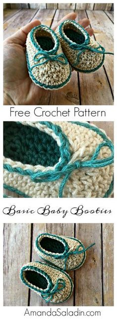 Crochet Patterns Booties Crochet a pair of these basic baby booties in a snap with this free crochet patt. Bag Crochet, Crochet Diy, Crochet Baby Shoes, Crochet Baby Clothes, Crochet Slippers, Love Crochet, Crochet Sandals, Kids Crochet, Baby Slippers