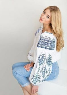 ♥ , Ukraine , from Iryna Folk Embroidery, Learn Embroidery, Embroidery Fashion, Vintage Embroidery, Embroidery Dress, Embroidery Patterns, Folk Fashion, Ethnic Fashion, Embroidered Clothes