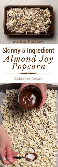 Almond Joy Popcorn is a quick and healthy way to satisfy your sweet and salty craving. With only 5 ingredients and no cooking or baking! Vegan Gluten Free, Gluten Free Recipes, Quick Recipes, Vegan Recipes, Potato Recipes, Dairy Free, Quick Snacks, Healthy Snacks, Gluten Free Popcorn