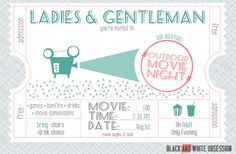 Customizable Movie Night Invitations Example | The Happier Homemaker contributor Trisha D from Black and White Obsession
