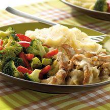 Putengeschnetzeltes mit Kartoffelpüree und Broccoli