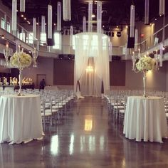 Muse Event Center Decor #white #Chandliers
