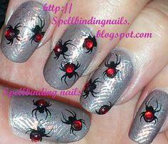 Spellbinding Nails: Big SdP C & BM13 + ' Black Widow Spiders! '