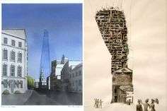"""100 views around the Shard.  Leading architects, designers and artists working on the theme """"100 views around The Shard"""" created a series of artworks for the 10x10 Drawing the City London auction."""