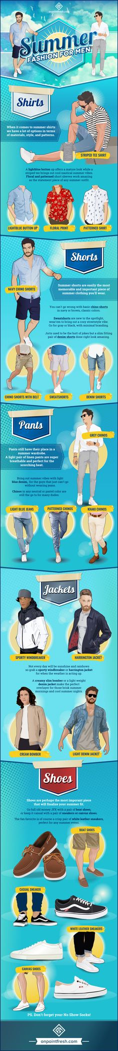 Visual Guide To Men's Summer Fashion - hope this helps you find your summer style!   Supernatural Sty