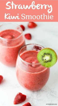 Strawberry Kiwi Smoothie – This smoothie is the perfect way to start the day! Th… Strawberry Kiwi Smoothie – This smoothie is the perfect way to start the day! The kiwi adds a beautiful, tart flavor. Everyone loves this! Strawberry Kiwi Smoothie, Apple Smoothies, Yummy Smoothies, Juice Smoothie, Breakfast Smoothies, Smoothie Drinks, Yummy Drinks, Healthy Drinks, Healthy Recipes
