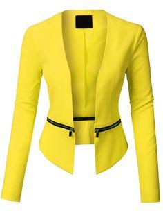 LE3NO Womens Long Sleeve Open Front Blazer Jacket with Detachable Hem