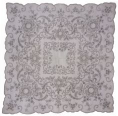 Vintage Swiss Appenzell Bridal Handkerchief Embroidered Linen Hankie with Lace Insetting and Pullwork