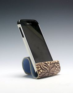 Ceramic cell phone holder business card holder by PCanPotter