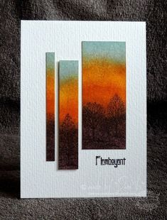 handmade card with clean and simple autumn colors, sunset, trees, bright water color panel cut into uneven columns with uneven mounting, great mod look! Paper Cards, Diy Cards, Karten Diy, Thanksgiving Cards, Watercolor Cards, Watercolour, Fall Cards, Greeting Cards Handmade, Simple Handmade Cards