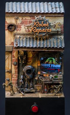 Amazing Miniature! Giu's Robot Repairs shop by the talented artist Raffa on the website Massive Voodoo.