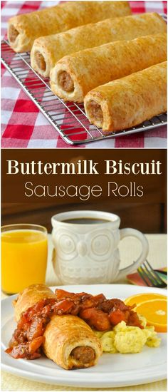Buttermilk Biscuit Sausage Rolls - your favourite breakfast sausage gets wrapped with a flakey buttermilk biscuit dough and baked to golden perfection. Sausage Biscuits, Sausage Rolls, Buttermilk Biscuits, Sausage Bread, Breakfast Casserole With Biscuits, Sausage Breakfast, Breakfast Recipes, Muffin Recipes, Breakfast Ideas