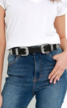 Sweet Melody Black and Silver Double Buckle Belt via @bestchicfashion