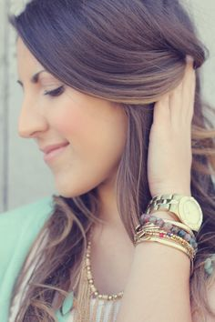 Pretty ombre hair and lovely bracelets