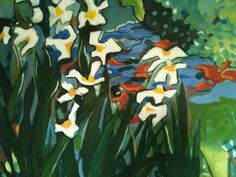 Irises, acrylic painting by Karen Tennent