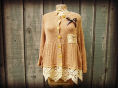 Old Soul Upcycled Cardigan Sweater// Medium Large  by emmevielle, $63.00