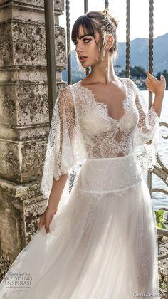 pinella passaro 2018 bridal half cornet sleeves v neck heavily embellished bodice tulle skirt elegant romantic soft a  line wedding dress open back (8) mv zv -- Pinella Passaro 2018 Wedding Dresses
