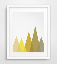 INSTANT DOWNLOAD: Printable mustard mountain wall art === Print out this modern wall artwork from your home computer or local print