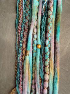 10 Island Paradise Tie-Dye Wool Synthetic Dreadlock*Clip-in Extensions Boho Dreads Hair Wraps & Beads Custom