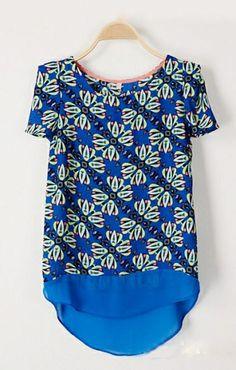 Irregular Pattern Printing High-low Hem Chiffon Short Sleeve Blouse