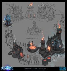 ArtStation - Heroes Of The Storm - Towers Of Doom - Blacksmith Town, David Harrington